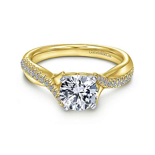 Gabriel - Scout 14k Yellow And White Gold Round Twisted Engagement Ring