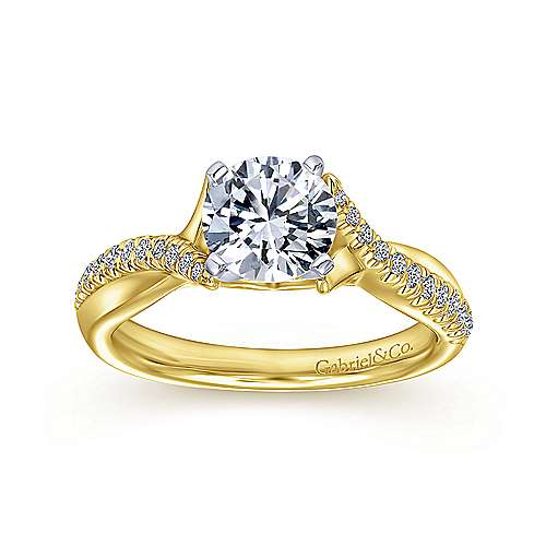 Scout 14k Yellow And White Gold Round Twisted Engagement Ring angle 5