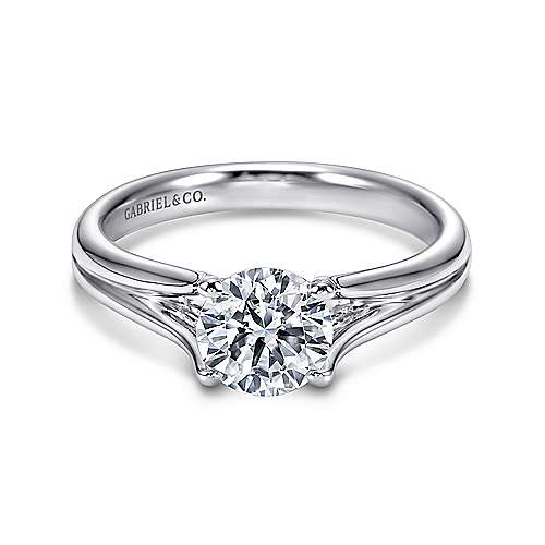Gabriel - Selah 14k White Gold Round Solitaire Engagement Ring