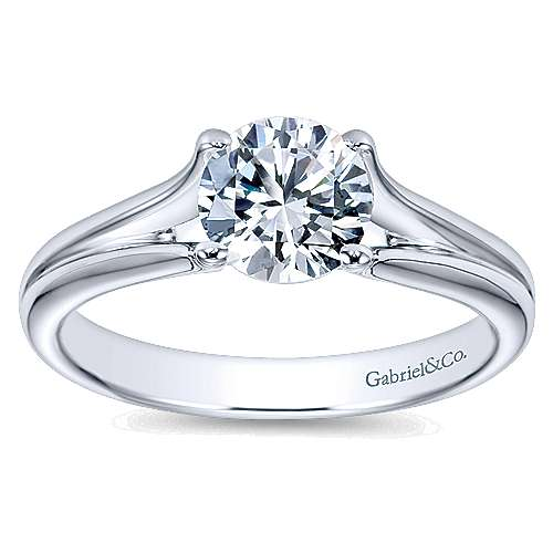 Selah 14k White Gold Round Solitaire Engagement Ring angle 5