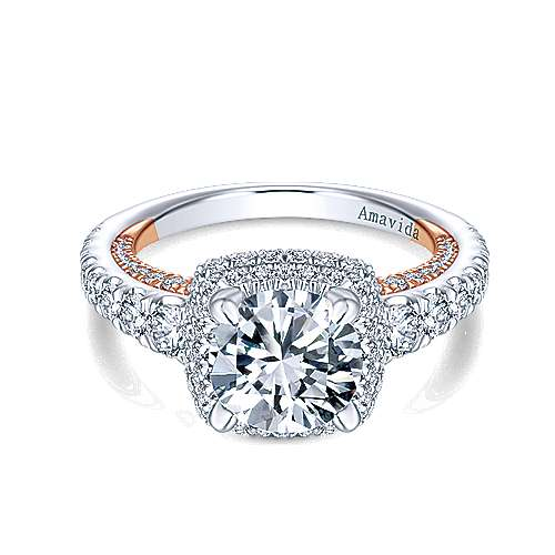 Selena 18k White And Rose Gold Round Halo Engagement Ring angle 1