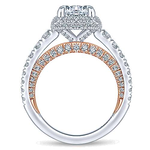 Selena 18k White And Rose Gold Round Halo Engagement Ring angle 2