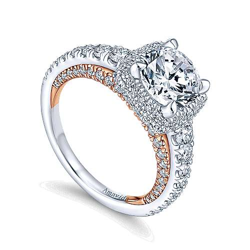Selena 18k White And Rose Gold Round Halo Engagement Ring angle 3