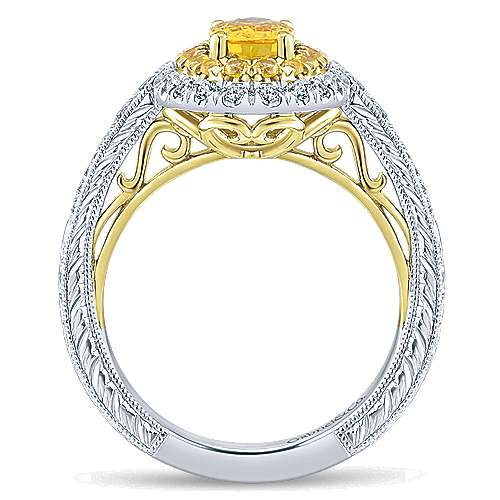 Sena 14k Yellow And White Gold Oval Double Halo Engagement Ring angle 2