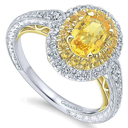 Sena 14k Yellow And White Gold Oval Double Halo Engagement Ring angle 3