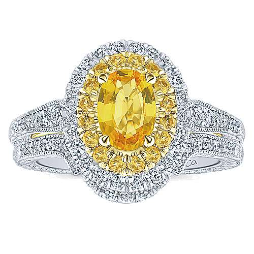 Sena 14k Yellow And White Gold Oval Double Halo Engagement Ring angle 4