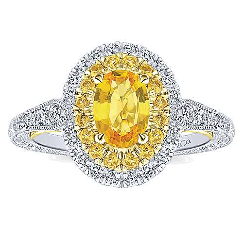 Sena 14k Yellow And White Gold Oval Double Halo Engagement Ring angle 5