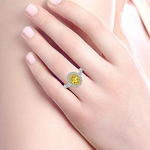 Sena 14k Yellow And White Gold Oval Double Halo Engagement Ring angle 6