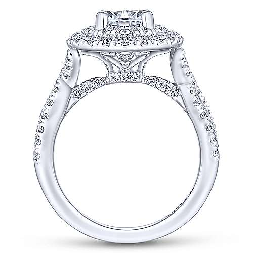 Senna 14k White Gold Round Double Halo Engagement Ring angle 2