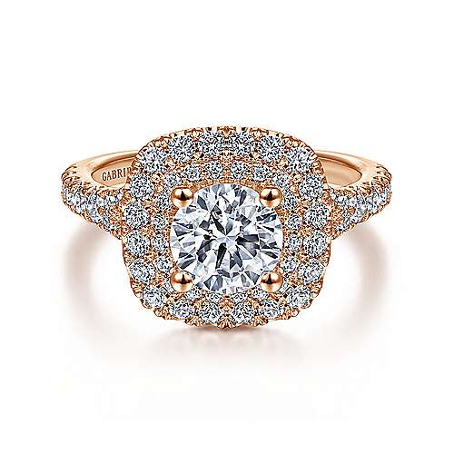 Gabriel - Sequoia 14k Rose Gold Round Double Halo Engagement Ring