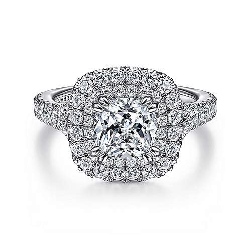 Sequoia 14k White Gold Cushion Cut Double Halo Engagement Ring angle 1