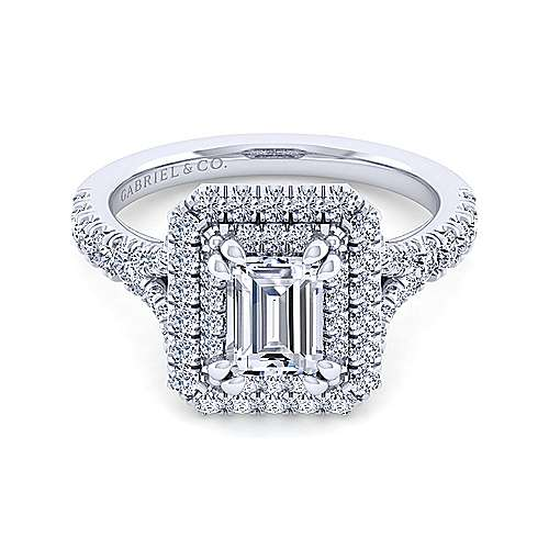Gabriel - Sequoia 14k White Gold Emerald Cut Double Halo Engagement Ring