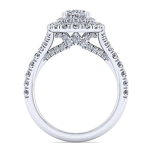Sequoia 14k White Gold Oval Double Halo Engagement Ring angle 2
