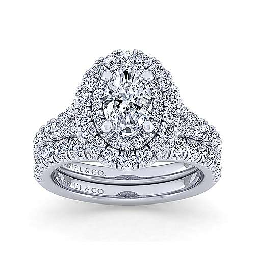 Sequoia 14k White Gold Oval Double Halo Engagement Ring angle 4