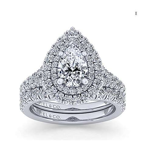 Sequoia 14k White Gold Pear Shape Double Halo Engagement Ring