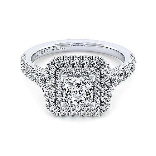 Gabriel - Sequoia 14k White Gold Princess Cut Double Halo Engagement Ring