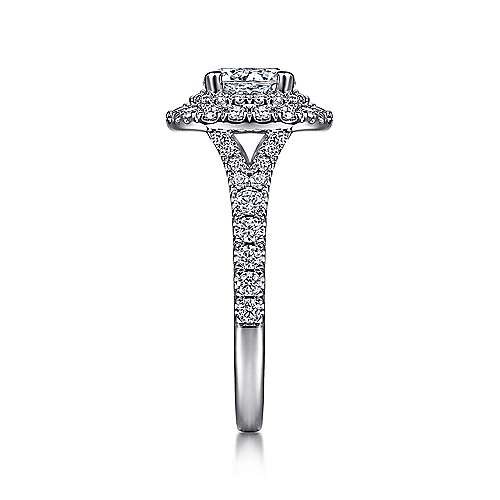 Sequoia 14k White Gold Round Double Halo Engagement Ring angle 5
