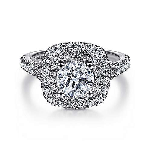 Gabriel - Sequoia Platinum Round Double Halo Engagement Ring
