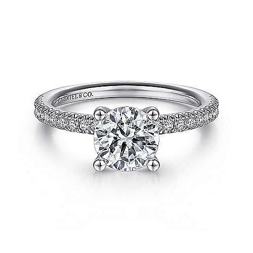 Gabriel - Serenity 14k White Gold Round Straight Engagement Ring
