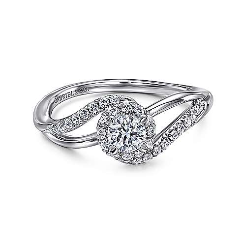 Seville 14k White Gold Round Bypass Engagement Ring angle 1