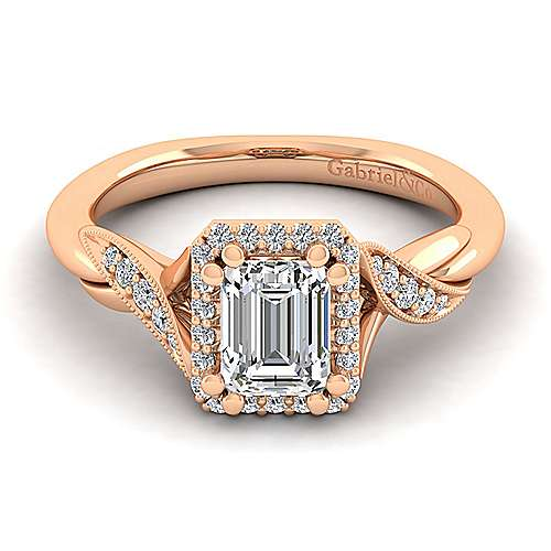 Gabriel - Shae 14k Rose Gold Emerald Cut Halo Engagement Ring