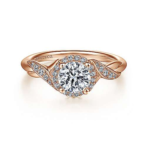 Gabriel - Shae 14k Rose Gold Round Halo Engagement Ring