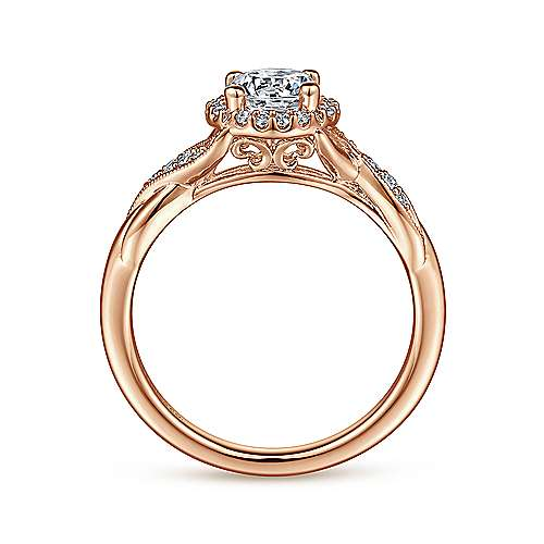 Shae 14k Rose Gold Round Halo Engagement Ring angle 2