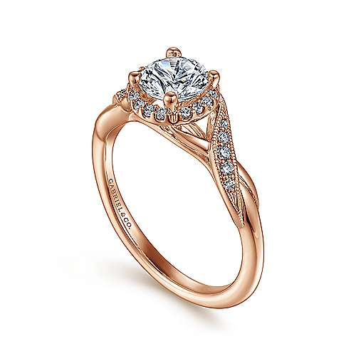 Shae 14k Rose Gold Round Halo Engagement Ring angle 3