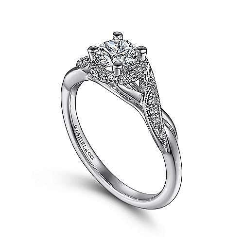 Shae 14k White Gold Round Halo Engagement Ring angle 3