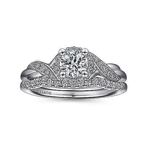 Shae 14k White Gold Round Halo Engagement Ring angle 4