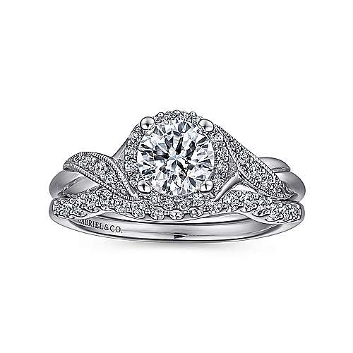 Shae 14k White Gold Round Halo Engagement Ring angle 4