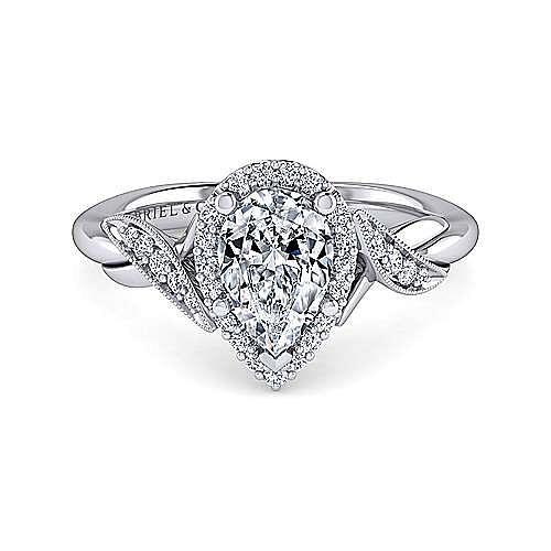 Shae Platinum Pear Shape Halo Engagement Ring angle 1