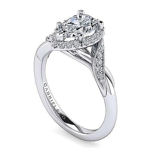 Shae Platinum Pear Shape Halo Engagement Ring angle 3