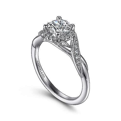 Shae Platinum Round Halo Engagement Ring angle 3