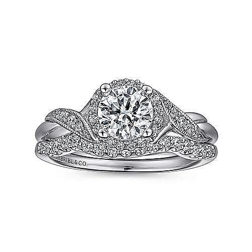 Shae Platinum Round Halo Engagement Ring angle 4