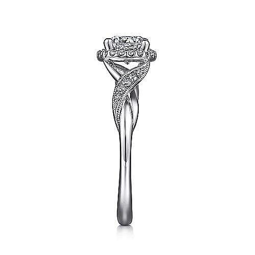 Shae Platinum Round Halo Engagement Ring angle 5