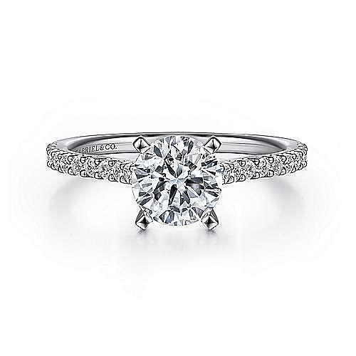 Gabriel - Shanna 14k White Gold Round Straight Engagement Ring
