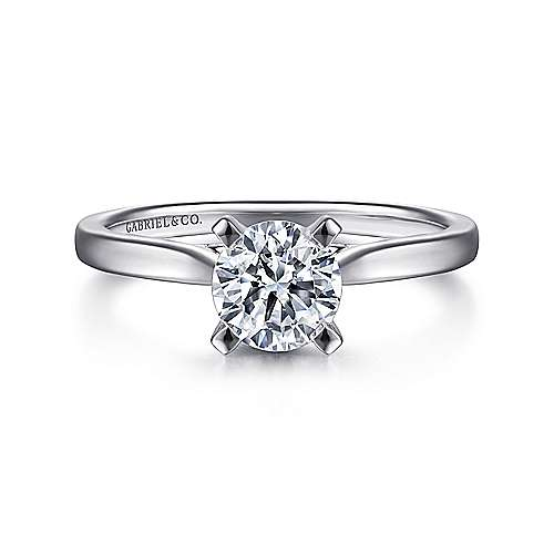 Shannon 14k White Gold Round Solitaire Engagement Ring angle 1