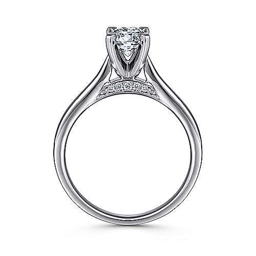 Shannon 14k White Gold Round Solitaire Engagement Ring angle 2
