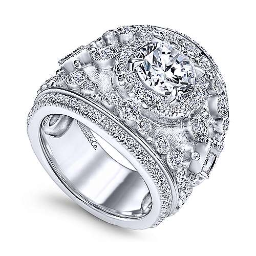 Sharon 18k White Gold Round Halo Engagement Ring angle 3