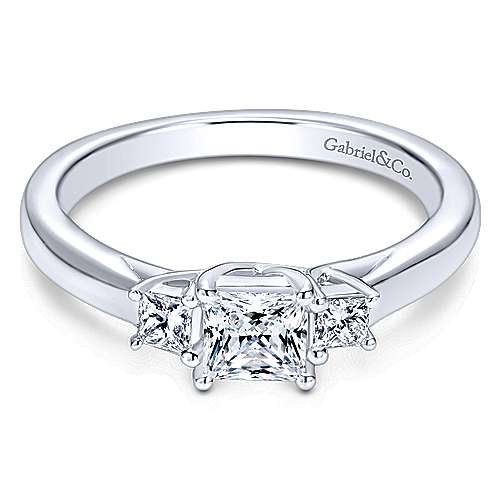 Shay 14k White Gold Princess Cut 3 Stones Engagement Ring angle 1