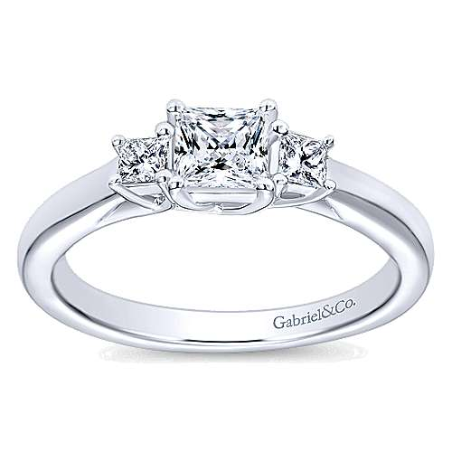 Shay 14k White Gold Princess Cut 3 Stones Engagement Ring angle 5