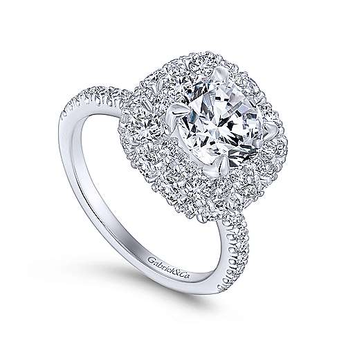 Sheer 18k White Gold Round Halo Engagement Ring angle 3