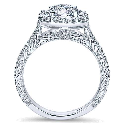Sheila 14k White Gold Round Halo Engagement Ring angle 2