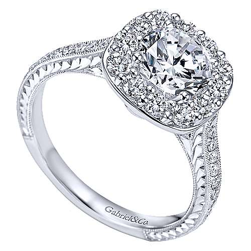 Sheila 14k White Gold Round Halo Engagement Ring angle 3