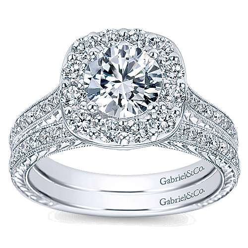 Sheila 14k White Gold Round Halo Engagement Ring angle 4
