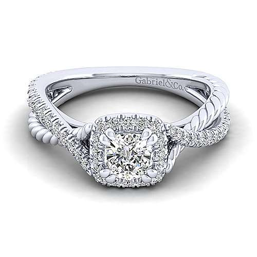 Gabriel - Sheridan 14k White Gold Cushion Cut Halo Engagement Ring