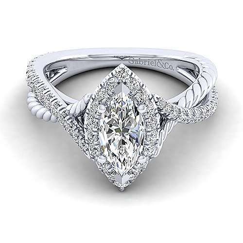 Gabriel - Sheridan 14k White Gold Marquise  Halo Engagement Ring