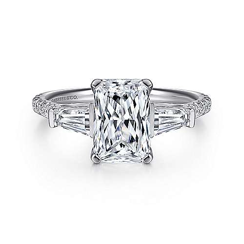 Gabriel - Sheryl 14k White Gold Emerald Cut 3 Stones Engagement Ring
