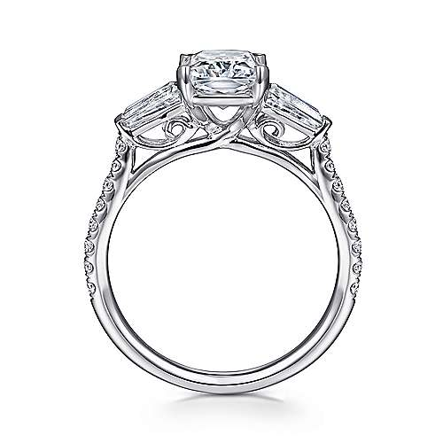 Sheryl 14k White Gold Emerald Cut 3 Stones Engagement Ring angle 2
